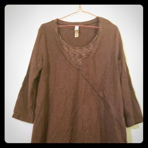 Brown Mid-Sleeve Top